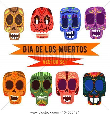 Cute Skulls Set. Mexican Day Of The Dead. Funny Characters In A Colorful Style.