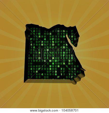 Egypt sunburst map with hex code illustration