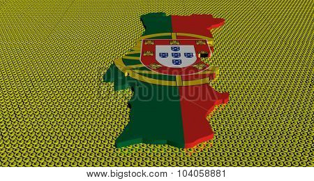 Portugal map flag on golden euros coins illustration