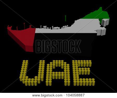 UAE barrel text with map flag illustration
