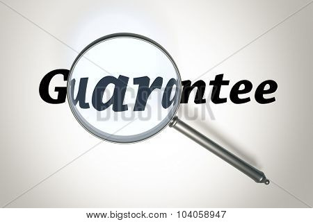 An image of a magnifying glass and the word Guarantee