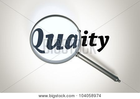 An image of a magnifying glass and the word quality