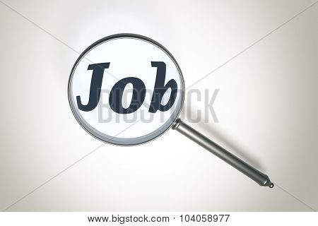 An image of a magnifying glass and the word job
