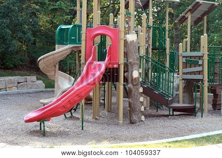 Playground with red slide