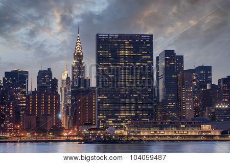 New York City Manhattan Skyline, United Nations Headquarters