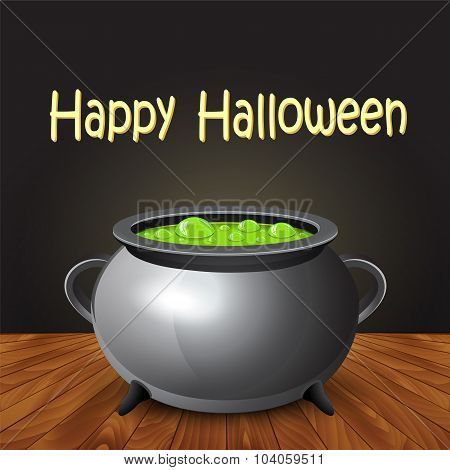 Happy Halloween Banner With Witch Cauldron Boiling The Potion.