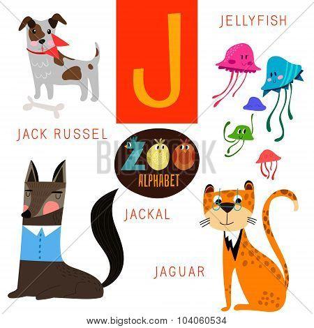 Cute Zoo Alphabet In Vector.j Letter. Funny Cartoon Animals:jack Russel, Jellyfish,jackal.jaguar. Al
