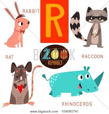 Cute Zoo Alphabet In Vector.r Letter. Funny Cartoon Animals:rabbit,raccoon,rat,rhinoceros. Alphabet