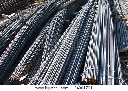 Steel reinforcement bars. Steel rods or bars used to reinforce concrete