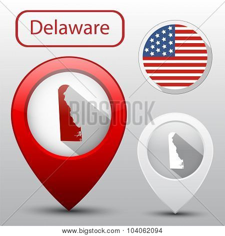 Set Of Delaware State With Flag Of America And Map Pointer