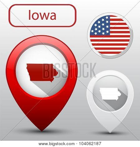Set Of Iowa State With Flag America And Map Pointer