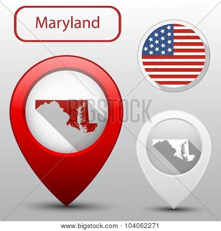 Set Of Maryland State With Flag America And Map Pointer