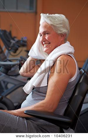 Senior Woman Sweating In Gym