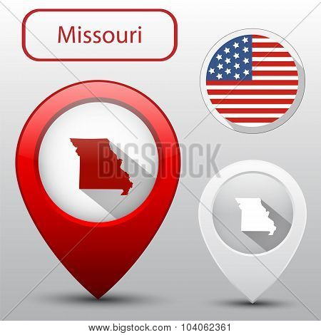 Set Of Missouri State With Flag America And Map Pointer