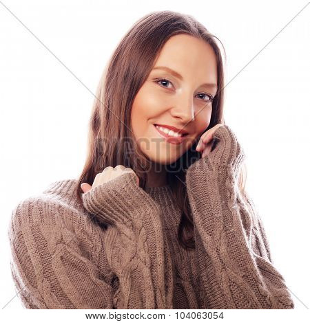 life style, happiness, emotional and people concept: Beautiful young woman  looking at camera and make different emotions while standing against white background