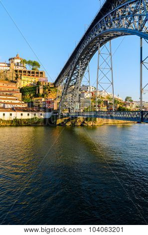view of Dom Luis I bridge in Porto, Portugal
