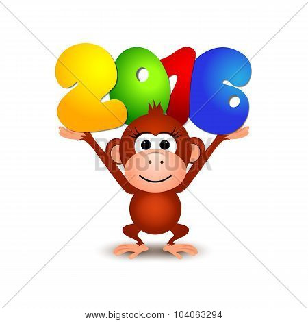 Symbol New Year 2016, Monkey. Postcard Happy New Year 2016 Year