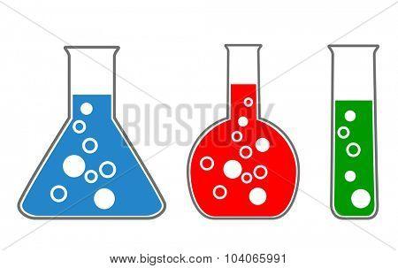 laboratory glass, chemistry. scientific icons, vector eps10