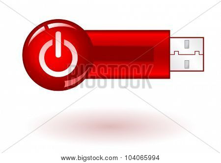 USB Pendrive with red power icon, on white background, vector illustration