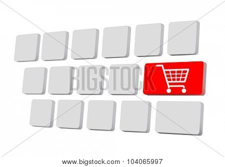 Shopping on-line , red key with basket symbol