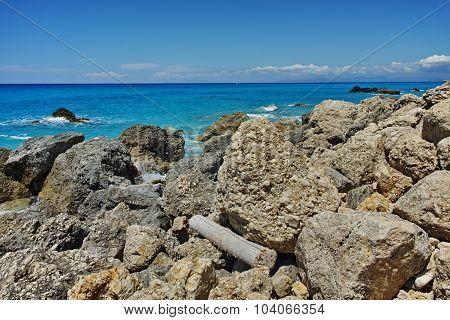 Amazing panorama of Megali Petra Beach, Lefkada, Ionian Islands