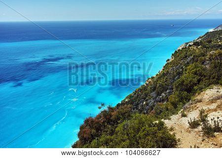 Panorama of Gialos Beach, Lefkada, Ionian Islands