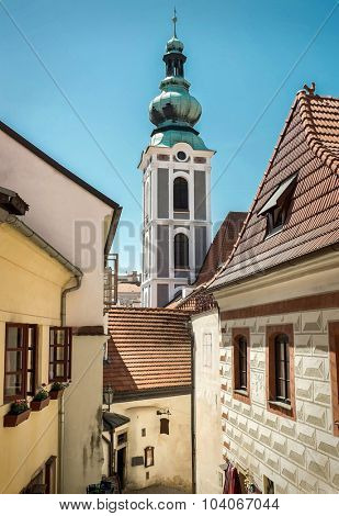 One of the famous popular travel place in Europe - Cesky Krumlov under sunlight.