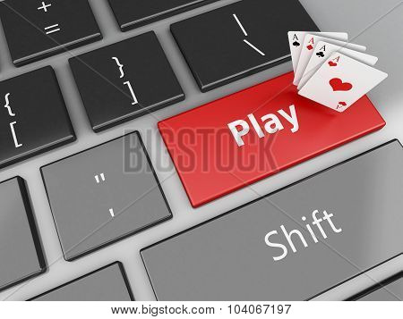 3D Cards On The Computer Keyboard