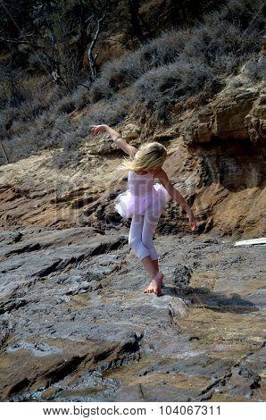 Zlata doing ballet on Diamond Head Beach Hawaii