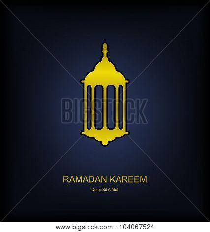 Golden Fanoos on Dark Background for Ramadan Kareem