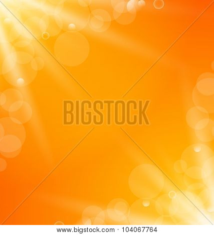 Abstract orange bright background with sun light rays