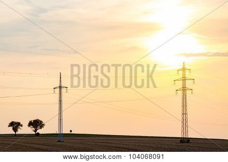 Sunset Over The Powerlines