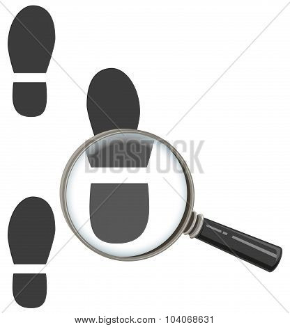 Magnifying glass increases footprint of man