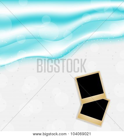 Beach background with set photo frames