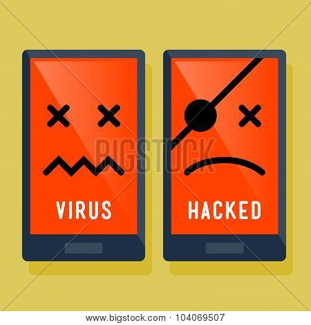 Smart Phone Hacker And Virus Attack Icon