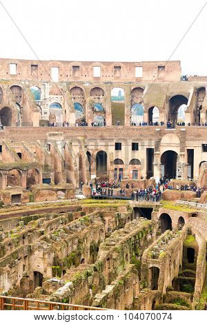 ROME, ITALY - CIRCA JAN 2015: Inside the Colosseum in Rome, Italy. The Colosseum is an important monument of antiquity and is one of the main tourist attractions of Rome.