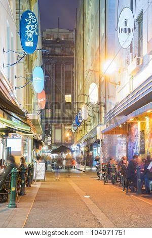 Laneway In Melbourne At Night