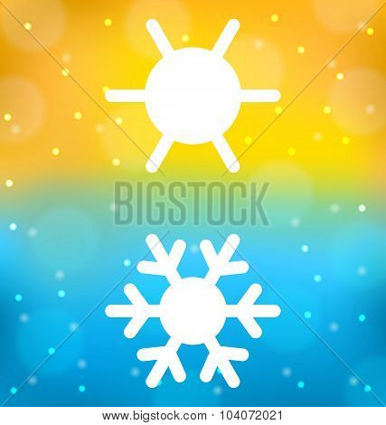 Abstract background with logo of symbol climate balance - sun an