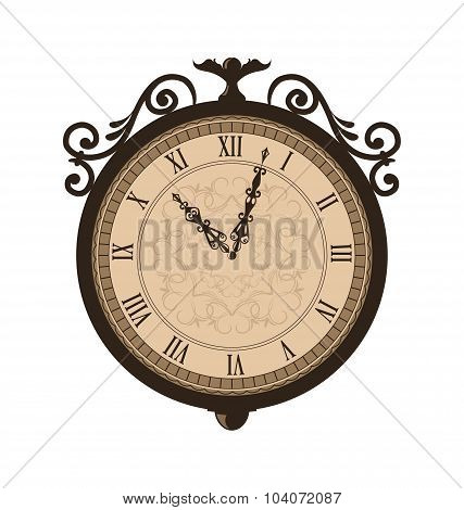 Forging retro clock with vignette arrows, isolated on white back