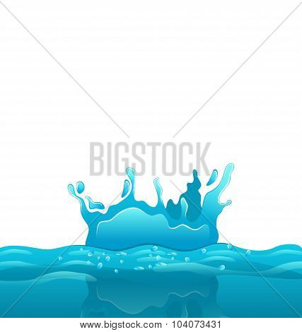 Splash and crown on rippled water surface
