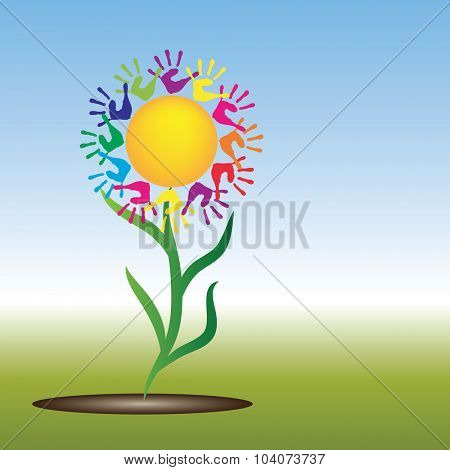 Concept conceptual yellow happy abstract sun with children hand print spiral or circle flower isolated on white background