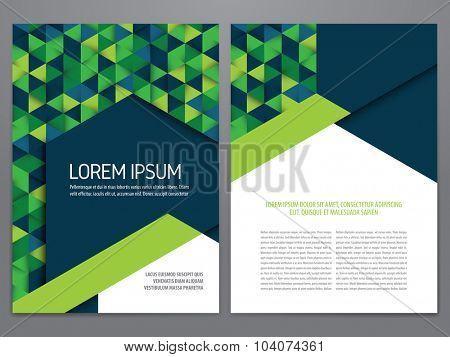 Vector brochure, annual report, flyer, magazine template. Modern blue and green geometric design.