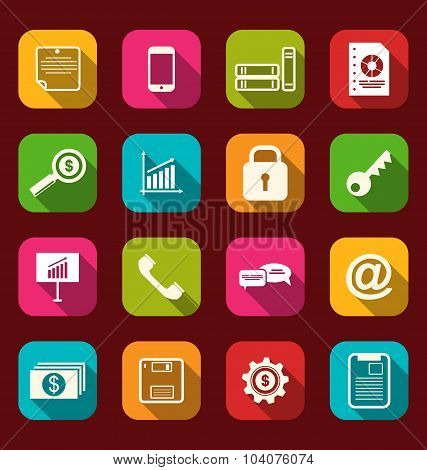 Group simple flat icons of business and financial items, with lo