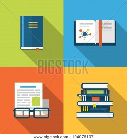 Flat icons design of handbooks, books and publish documents, lon