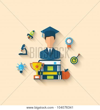 Flat icons of magister and objects for high school and college,