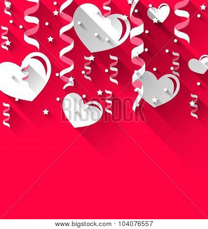 Background for Valentines Day with paper hearts, streamer, stars