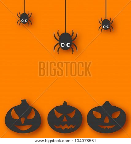 Halloween background with hanging spiders and pumpkins