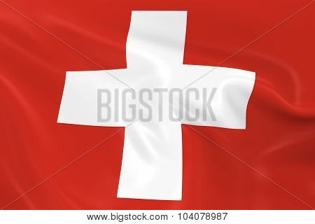 Waving Flag Of Switzerland - 3D Render Of The Swiss Flag With Silky Texture
