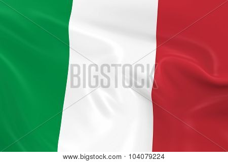 Waving Flag Of Italy - 3D Render Of The Italian Flag With Silky Texture