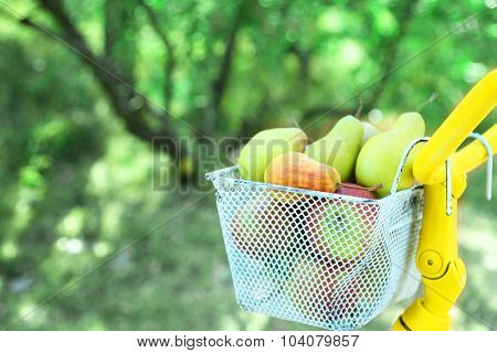 Basket of juicy fruits on bike, outdoors